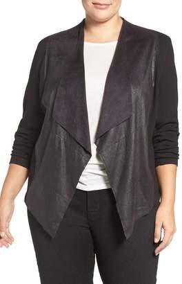 Tart 'Shanan' Faux Leather & Knit Drape Front Jacket