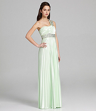 Sequin Hearts One-Shoulder Pleated Gown