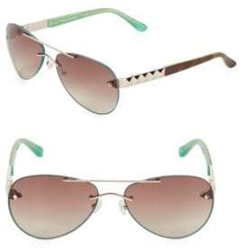Linda Farrow Luxe Rockstud 63MM Aviator Sunglasses