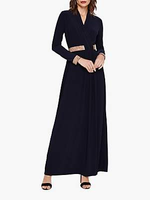 Phase Eight Julietta Textured Detail Maxi Dress, Navy