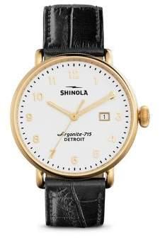Shinola Canfield Velvet Dial Alligator Strap Watch