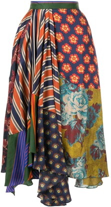 Biyan asymmetric patchwork skirt