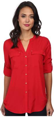 Calvin Klein Crew Neck Roll Sleeve Top Women's Blouse