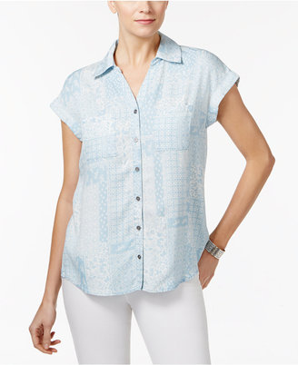 Style & Co Short-Sleeve Denim Shirt, Only at Macy's $49.50 thestylecure.com