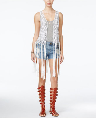 Collection XIIX Lace Vest with Jersey Fringe $58 thestylecure.com