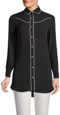 Valentino Hi-Lo Silk Button-Down Shirt
