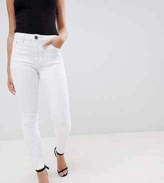 Asos Design Petite Ridley High Waist Skinny Jeans In Optic White