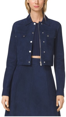 Michael Kors Cropped -Suede Utility Jacket