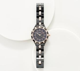 Isaac Mizrahi Live! Ceramic Crystal Link Round Dial Watch
