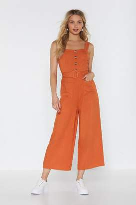 Nasty Gal Bring It Button Linen Jumpsuit