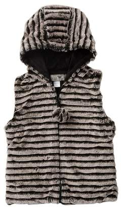 WIDGEON Faux Fur Hooded Pompom Vest (Big Girls)