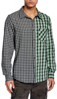 Ovadia & Sons Men's Mixed Plaid Long-Sleeve Plaid Shirt