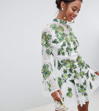 Asos Edition EDITION Petite floral embroidered and embellished mini skater dress