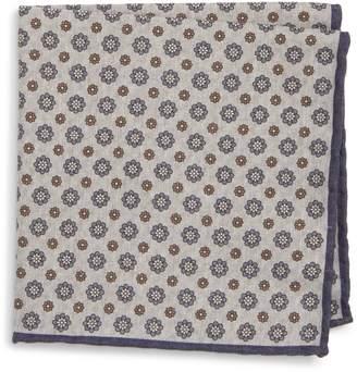Eleventy Medallion Wool & Cotton Pocket Square