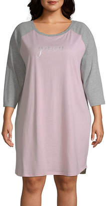 Ambrielle Womens Baseball 3/4 Sleeve Round Neck Nightshirt -Plus