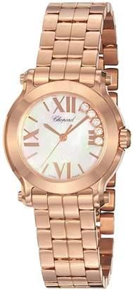 Chopard Women's 274189-5003 Happy Sport Round Analog Display Swiss Quartz Pink Watch