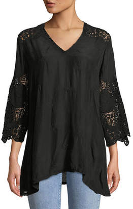Johnny Was Jay Jay V-Neck Top with Crochet Detail