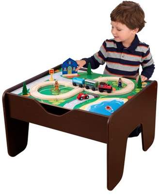 Kid Kraft 2-in-1 Activity Table With Board - Espresso with 230 accessories included