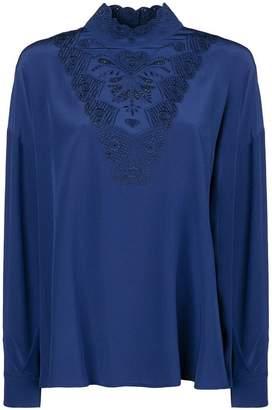 Fendi embroidered long-sleeve blouse