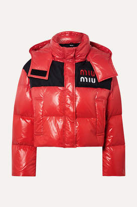 Cropped Two-tone Quilted Shell Down Jacket - Red
