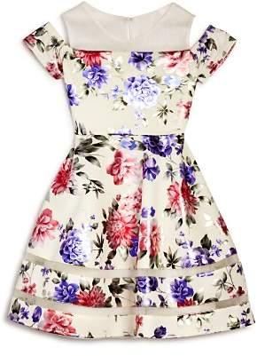 Us Angels Girls' Floral Cold-Shoulder Dress - Big Kid