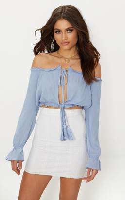 PrettyLittleThing Baby Blue Bardot Double Tie Front Top