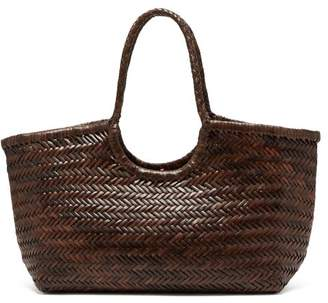Dragon Optical Diffusion - Nantucket Woven Leather Basket Bag - Womens - Dark Brown