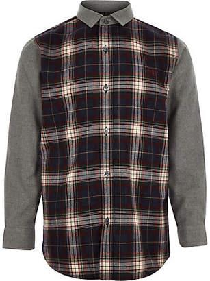 River Island Boys navy contrast check shirt