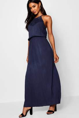 boohoo Crochet Trim Woven Viscose Maxi Dress