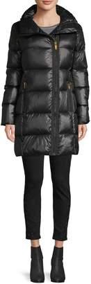 Donna Karan Waxed Asymmetrical-Zip Down Jacket