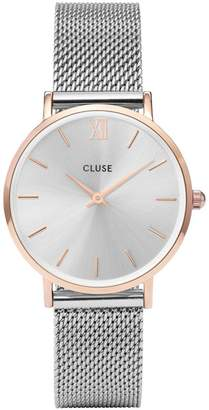 Cluse Minuit rose gold case with silver mesh strap ladies watch