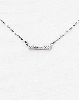 """Adina 14K White Gold Pavé Diamond Bar Necklace, 15"""""""