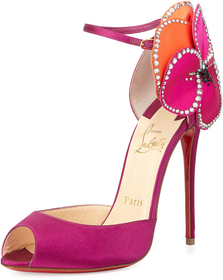 Christian Louboutin Pensamoi Satin Rose Red Sole Sandal, Pink