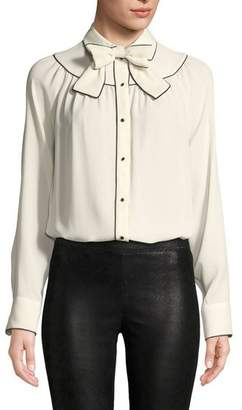 Valentino Long-Sleeve Button-Front Silk Georgette Blouse w/ Neck-Bow