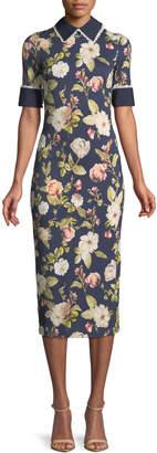 Alice + Olivia Delora Collared Floral-Print Sheath Dress