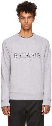 Balmain Grey Glossy Logo Sweatshirt