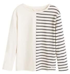 MANGO Striped contrast t-shirt