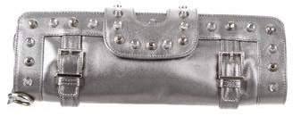 Versace Embellished Leather Clutch