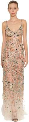 Roberto Cavalli Embellished Stretch Tulle Long Dress
