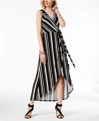 INC International Concepts I.n.c. Petite Striped Faux-Wrap Maxi Dress, Created for Macy's