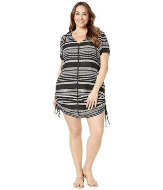 6e1a27a522f Dotti Plus Size Ibiza Stripe Side Shirred Hoodie Tunic Cover-Up