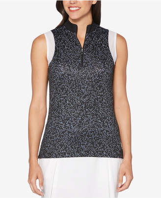 Callaway Printed Mock-Neck Sleeveless Golf Top