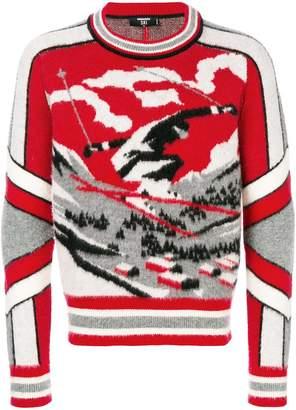 DSQUARED2 Ski skier intarsia knit jumper