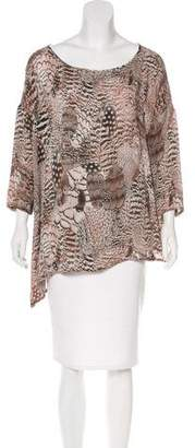 Rag & Bone Silk Feather Print Top