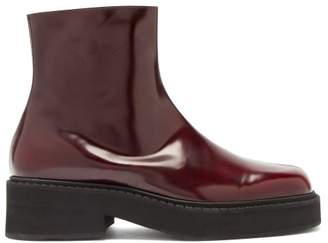 Marni Front Seam Leather Ankle Boots - Mens - Burgundy
