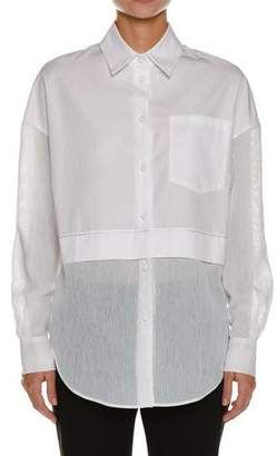 Piazza Sempione Silk Seersucker-Trim Tunic Shirt