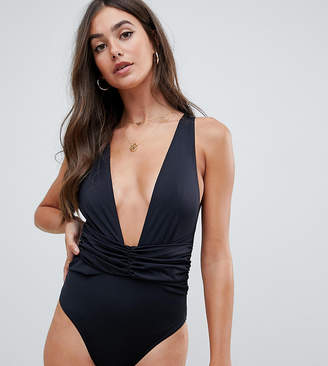 Asos Tall DESIGN Tall recycled plunge ruched front swimsuit