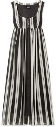 Marc Jacobs Striped Silk-georgette Maxi Dress - Black