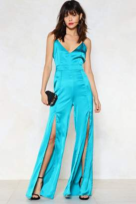 Nasty Gal Split While You're Ahead Satin Jumpsuit