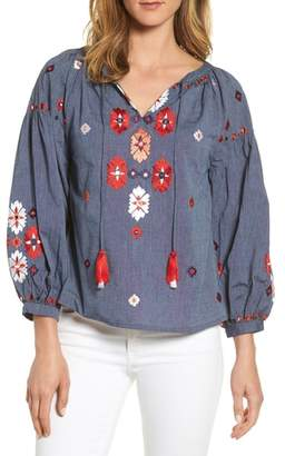 Kas Elora Embroidered Chambray Top